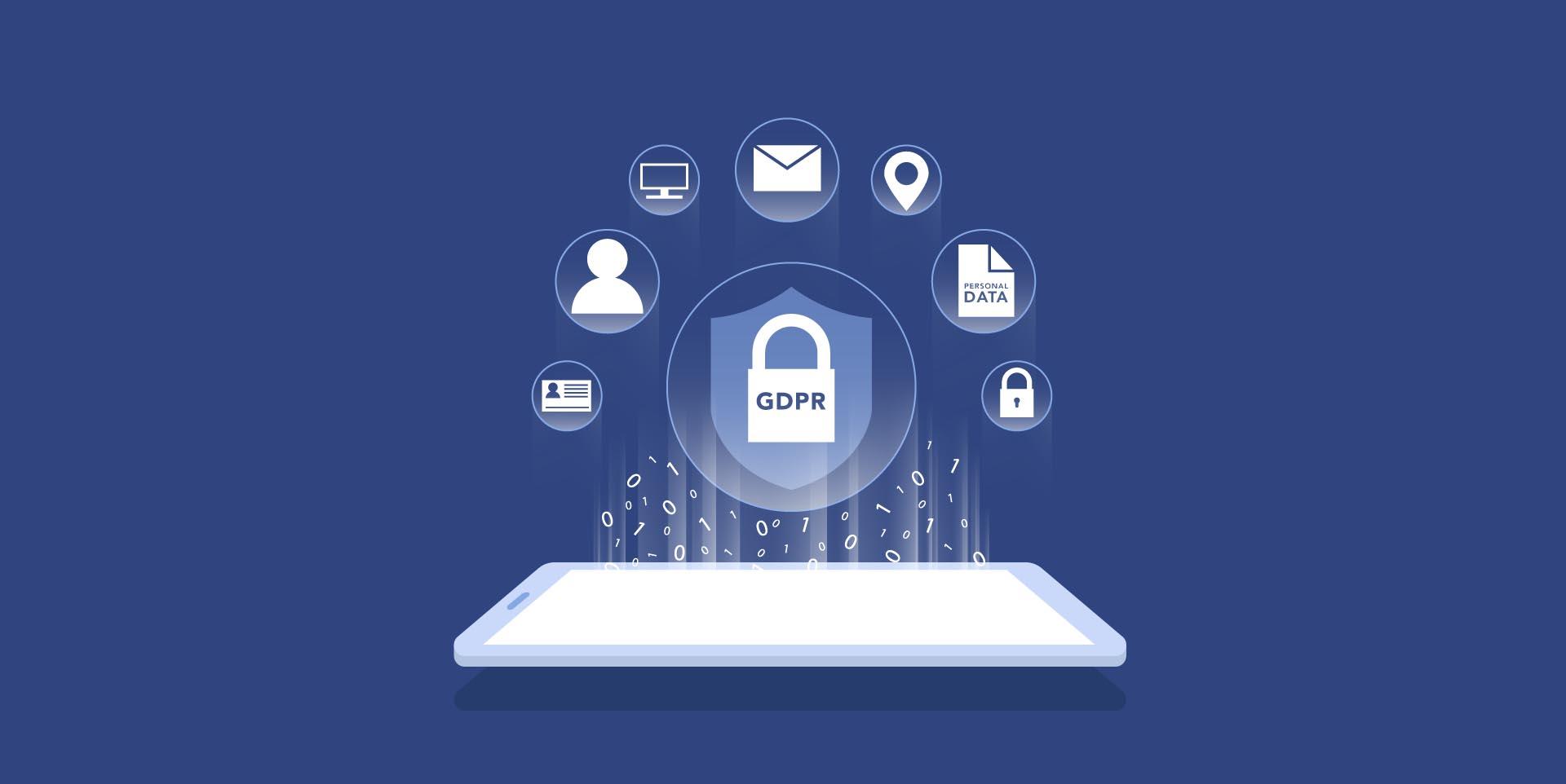 Cellulare su sfondo blu con icone sullla sicurezza dei dati personali