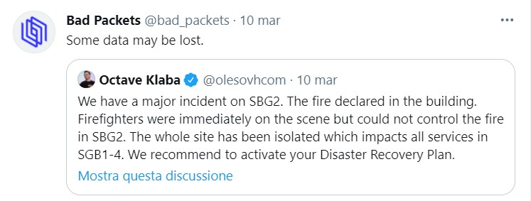 L'importanza del disaster recovery sottolineata nel tweet di Octave Klaba